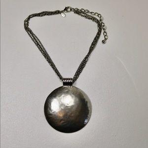 Chico's multi chain silver tone necklace
